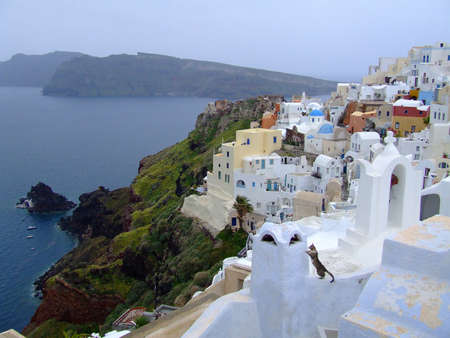 white houses on Santorini island, Greece photo