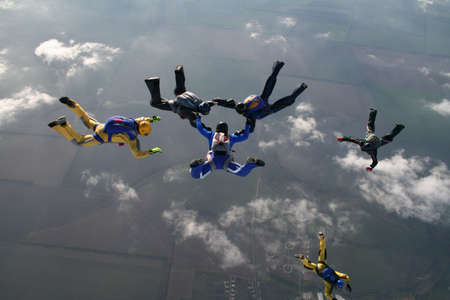 The group of parachutists in air photo