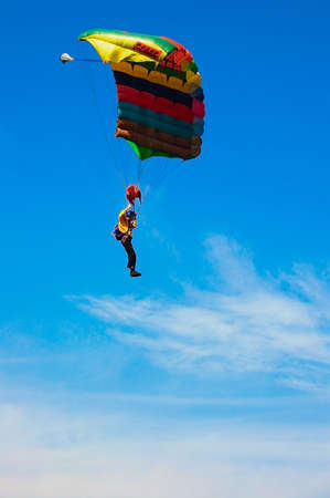 skydive: Parashutist  on the sky