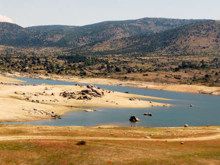 toledo town: A peaceful countryside landscape near Toledo town, Spain Stock Photo