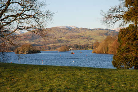 View of Lake Windermere. How in Lake District National Park Cumbria England Stock Photo - 26120037