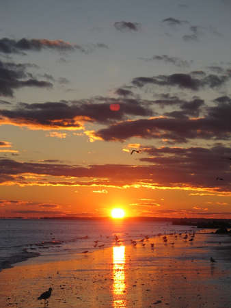 Sunset at sunken meadow beach, Long Island New York. Summer travel concept photo