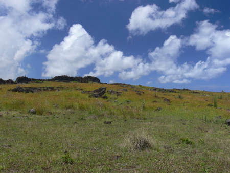 rapa: Landscape at easter island and green hils Stock Photo