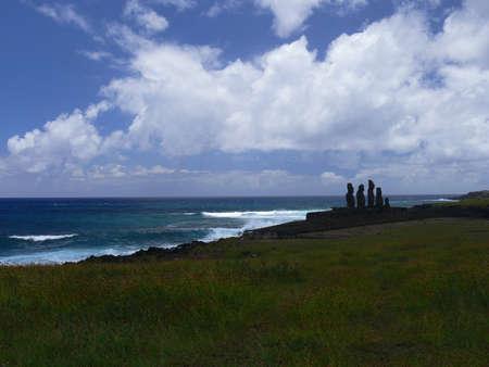 moai: Moai at Ahu Tongariki (Easter island, Chile)