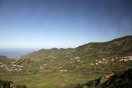 Picturesque, scenic landscape of mountain valley with blue sky in Tenerife, Canary islands, Spain photo