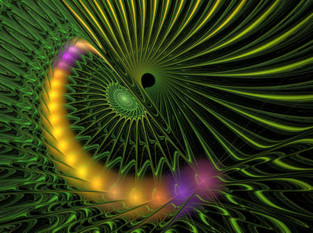 computer art: An abstract computer generated modern fractal design on dark background. Abstract fractal color texture. Digital art. Abstract Form & Colors. Green shiny spiral pattern around black hole Stock Photo