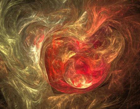 Un diseño moderno generado por ordenador abstracto del fractal en fondo oscuro. Textura abstracta del color del fractal. Arte digital. Forma y colores abstractos. Resumen fractal elemento patrón para su diseño. Corazón ardiente
