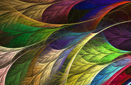 An abstract computer generated fractal design. Abstract fractal color texture. Rainbow feather