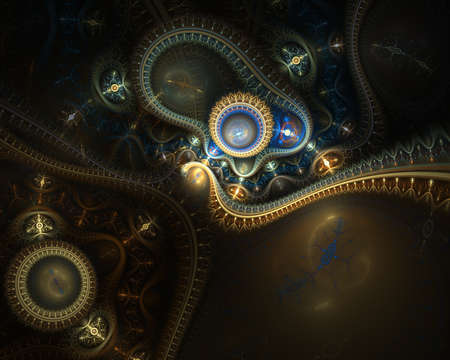 Steampunk. Tijd machine. Futuristische mechanische motor. Een abstracte computer gegenereerde moderne fractale ontwerp op een donkere achtergrond. Abstracte fractal kleurentextuur. Digitale kunst. Abstracte vorm en kleuren. Abstract fractal elementenpatroon voor uw ontwerp