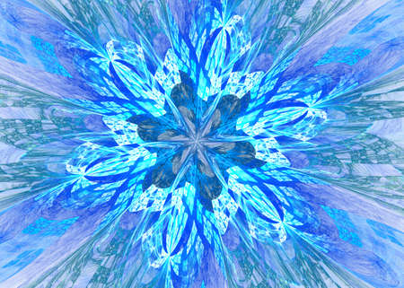 Snowflakes for the new year. Collection of linear round figures, as the rays of the sun. Blue radial objects on the black background. Decoration signs