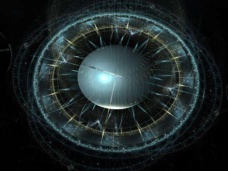 Tijd machine. Mechanisme van de eeuwigheid. 3D surrealistische illustratie. Fractal tijdreeks. Samenstelling van klok en fractal elementen met metaforische verhouding tot tijd, wetenschap en moderne technologie.