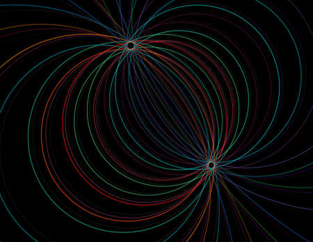 String theory. Physical processes and quantum theory. Quantum entanglement. An abstract computer generated modern fractal design on dark background. Abstract fractal color texture. Digital art. Abstract Form & Colors. Abstract fractal element pattern for your design.