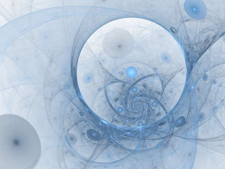 Perfect abstract digital blue background. Vortextunnel, 3d illustration. Composition of bubbles and circles and fractal elements with metaphorical relationship to space, science and modern technology. Fractal artwork, abstraction for cover design, template layout for corporate business card, booklet, brochure, flyer, poster, banner. Fractal artwork for creative design.