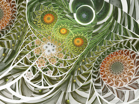 Spiral mosaic fractal pattern. Floral mosaic stain glass composition in green tone