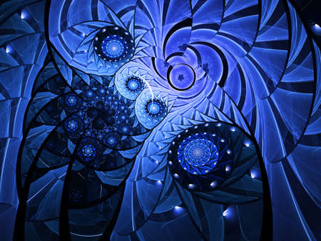 Spiral mosaic fractal pattern. Floral mosaic stain glass composition in blue Stock Photo