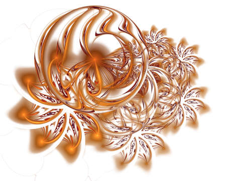 Abstract Christmas decoration background in gold color. Beautiful winter pattern with snowflakes and swirls. Frosty pattern on window in winter season. Winter holidays concept Stockfoto