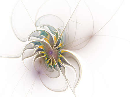Beautiful soft fractal flower. Computer generated graphics. Abstract floral fractal background for art projects Stock Photo