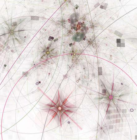 弦理論物理プロセスと量子理論。量子の絡み合い。抽象的なコンピュータは、暗い背景に近代的なフラクタルデザインを生成しました。抽象的なフ