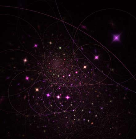 끈 이론. 물리적 인 과정과 양자 이론. 양자 얽힘. 추상 컴퓨터는 어두운 배경에서 현대적인 프랙탈 디자인을 생성합니다. 추상 프랙탈 색 텍스처입니