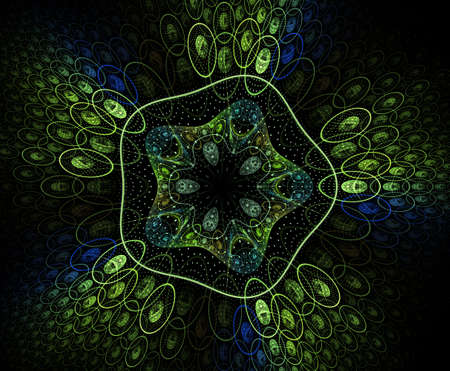 Abstract colorful geometric pattern - illustration. Zoomed cells background, image. Geometric, organic forms. Fractal flower, open blossom.