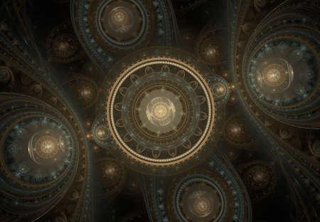 Abstract steampunk design, mechanical design, cogwheel engine. Modern fractal mechanical and steampunk background