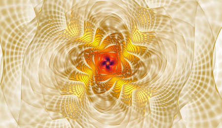 Abstract fractal with grids and spirals, spiral flower usable for desktop wallpaper or for creative cover design. Polygonal wire frame infinity spiral model. Computer-generated image technology style design reminiscent of a futuristic flower