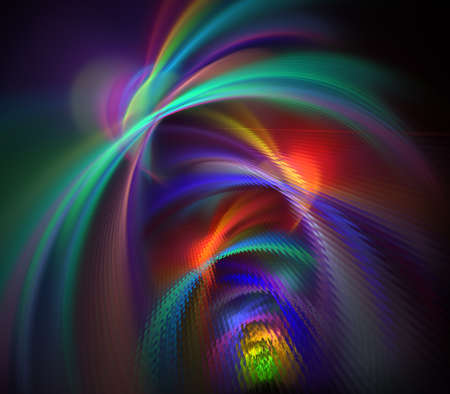 Elegant bright sophisticated background with ribbons or discs and rings. Colorful intricate curved design. Soft abstract fractal for 3D illustration or cover. Smoke cloud. Computer-generated image