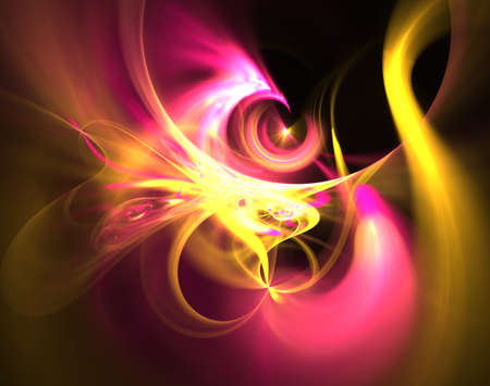 Elegant bright sophisticated background with ribbons or discs and rings. Pink and yellow intricate curved design. Soft abstract fractal for 3D illustration or cover. Smoke cloud. Computer-generated