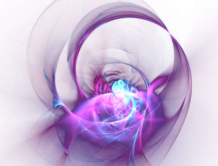 Elegant bright sophisticated background with ribbons or discs and rings. Violet intricate curved design. Soft abstract fractal for 3D illustration or cover. Smoke cloud. Computer-generated image Stock Photo