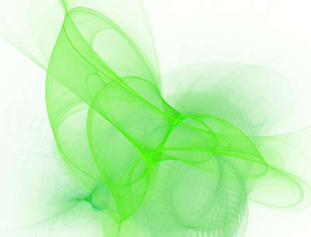 Elegant bright sophisticated background with ribbons or discs and rings. Green intricate curved design. Soft abstract fractal for 3D illustration or cover. Smoke cloud. Computer-generated image