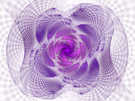 Abstract fractal with grids and spirals, spiral flower usable for desktop wallpaper or for creative cover design. Swirl frame infinity spiral model. Computer-generated image technology style design reminiscent of a futuristic flower Stok Fotoğraf