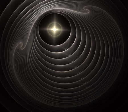 Intricate abstract woven disc design (3D illustration, background). Spiral digital art. An abstract computer generated modern spiral fractal element. Pattern for creative art design.