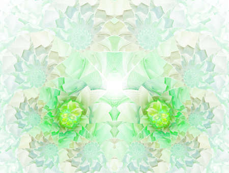 Colorful floral stained glass impression kaleidoscopic design. Beautiful green toned mosaic pattern for art background, (fractal church stained glass abstraction)