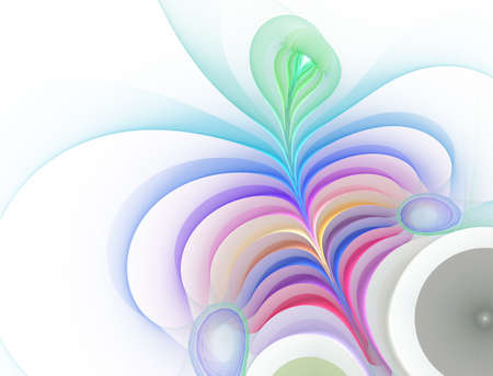 Plant illusion, leaves in floral design - fractal abstract background Stock Photo