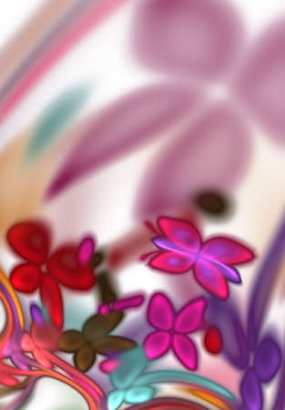 A colorful bright neon abstract floral design with butterflies. Illustration of abstract, beautiful, flower romantic fantasy and background with flying butterflies