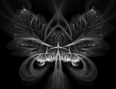 Never Were fractal Butterflies. Abstract design made of fractal organic texture, creative arrangement of isolated butterfly as a concept on subject of science, imagination, creativity, biology, design Stock Photo