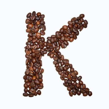 English Coffee Alphabet isolated on white. Roasted coffee beans. ?offee letter - K