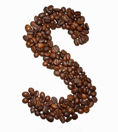English Coffee Alphabet isolated on white. Roasted coffee beans. ?offee letter - S