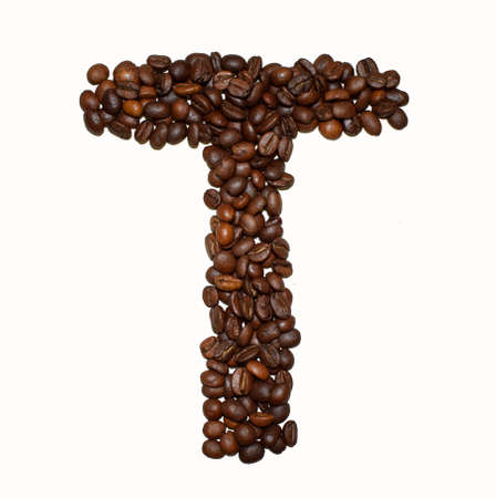 English Coffee Alphabet isolated on white. Roasted coffee beans. ?offee letter - T