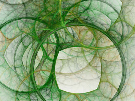 Komposition aus Blasen und Kreisen und fraktalen Elementen mit metaphorischer Beziehung zu Weltraum, Wissenschaft und moderner Technologie. Abstrakter Hintergrund. Raster fraktale Grafiken. Standard-Bild