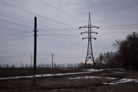 High voltage power line. Electricity Power Pylon