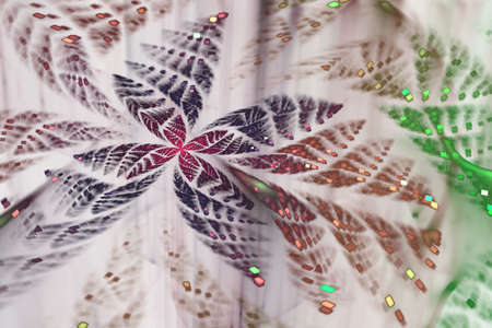 Glittering abstract fractal Butterfly. Bright bokeh texture. Festive glitter background with defocused lights. Design for holiday greeting card and invitation. Chaos glowing shapes with glossy spots.