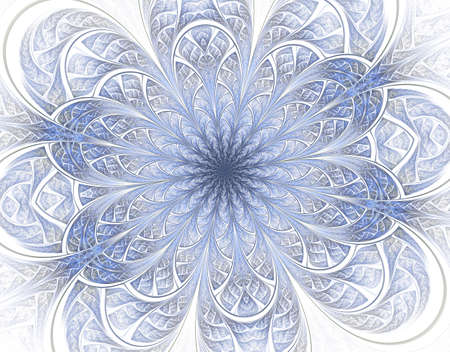 Soft and light colorful Beautiful fractal flower. Computer generated graphics. Floral pattern or snowflake. Fabulous background in mosaic style. Artwork for creative design, art.