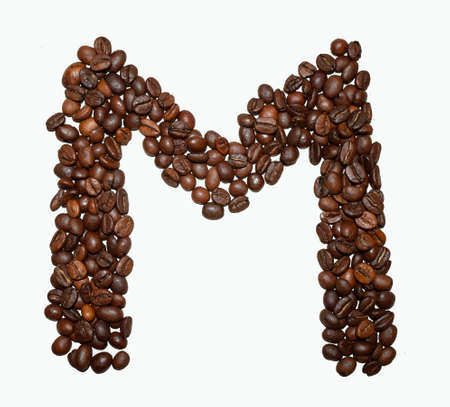 English Coffee Alphabet isolated on white. Roasted coffee beans. ?offee letter - M