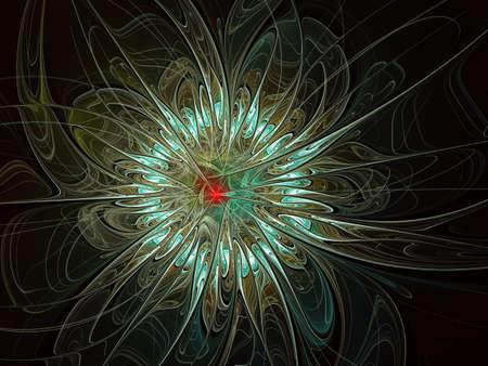 Abstract fractal, silky flower on black background, for desktop or for creative graphic design. Abstract glowing exotic flower on white background. Fantasy fractal design Banque d'images