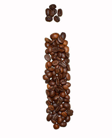 English Coffee Alphabet isolated on white. Roasted coffee beans. ?offee letter - I