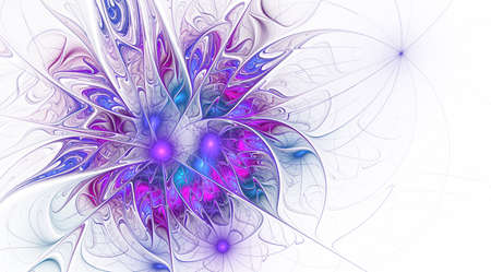 Fractal fantasy and artistic flower. Beautiful shiny futuristic background. Beautiful shin bloom. An abstract computer generated modern fractal design on white background. Digital art design element. Stock Photo