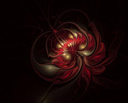Fractal illustration of bright background with floral ornament. Creative element for design. Fractal flower rendered by math algorithm. Digital artwork for creative graphic design Stock Photo