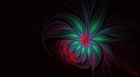 Abstract fractal, silky flower on black background, for desktop or for creative graphic design. Abstract glowing exotic flower on white background. Fantasy fractal design Stock Photo