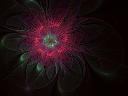 Abstract exotic flower with textured petals. Elegant fractal flower on a black background. Computer generated fractal design. Digital artwork for background, desktop or for creative design